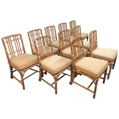 McGuire Vintage Bamboo Dining Chairs, Set of Ten