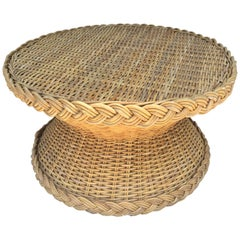 McGuire Wicker Circular Coffee Table/ Side Table