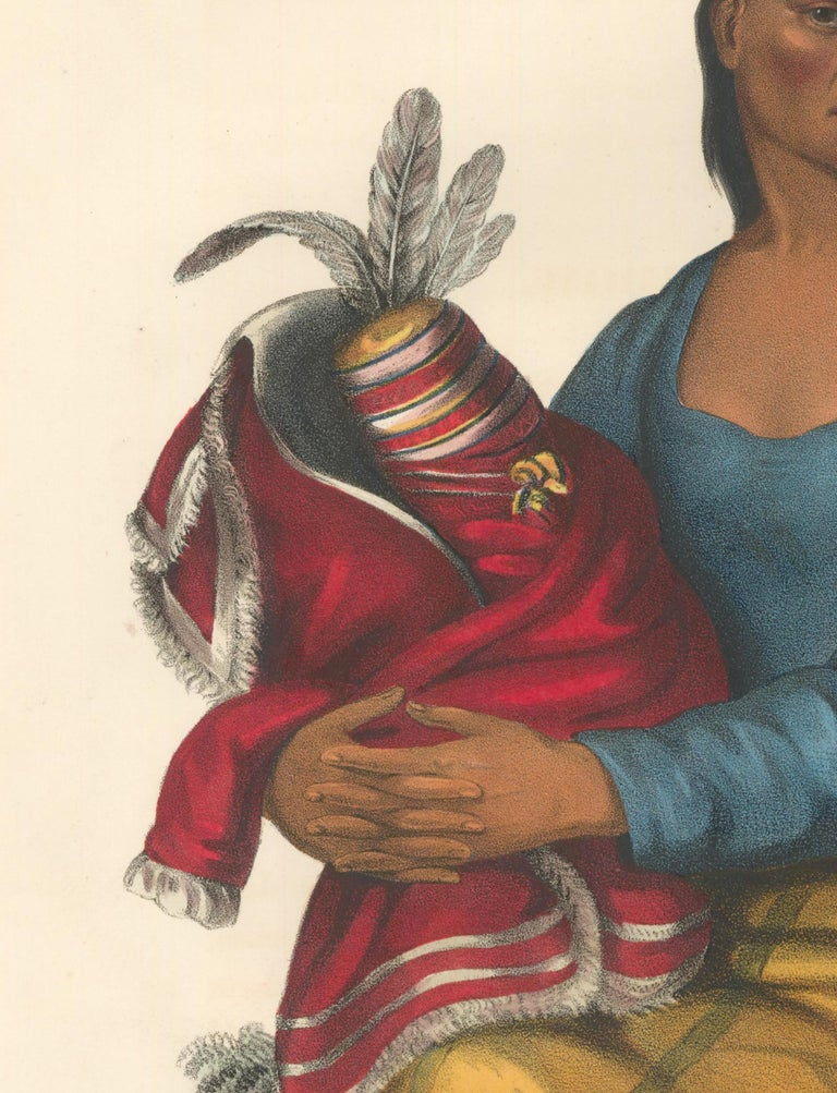 McKenney, Thomas and James Hall. History of the Indian Tribes of North America. Philadelphia, F.W. Greenough, Philadelphia, 1838-9. A CHIPPEWAY WIDOW. Original, early (possible first) folio edition lithograph hand-colored at publication by various