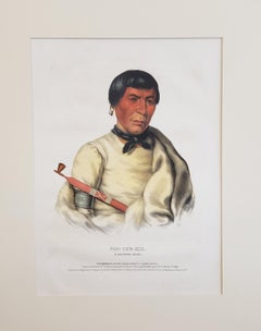 """Buffalo"" a Chippewa Chief Lithograph Portrait by McKenney & Hall"