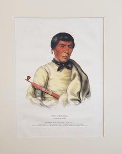 """Buffalo"" a Chippewa Chief Lithograph Portrait by McKenney & Hall"