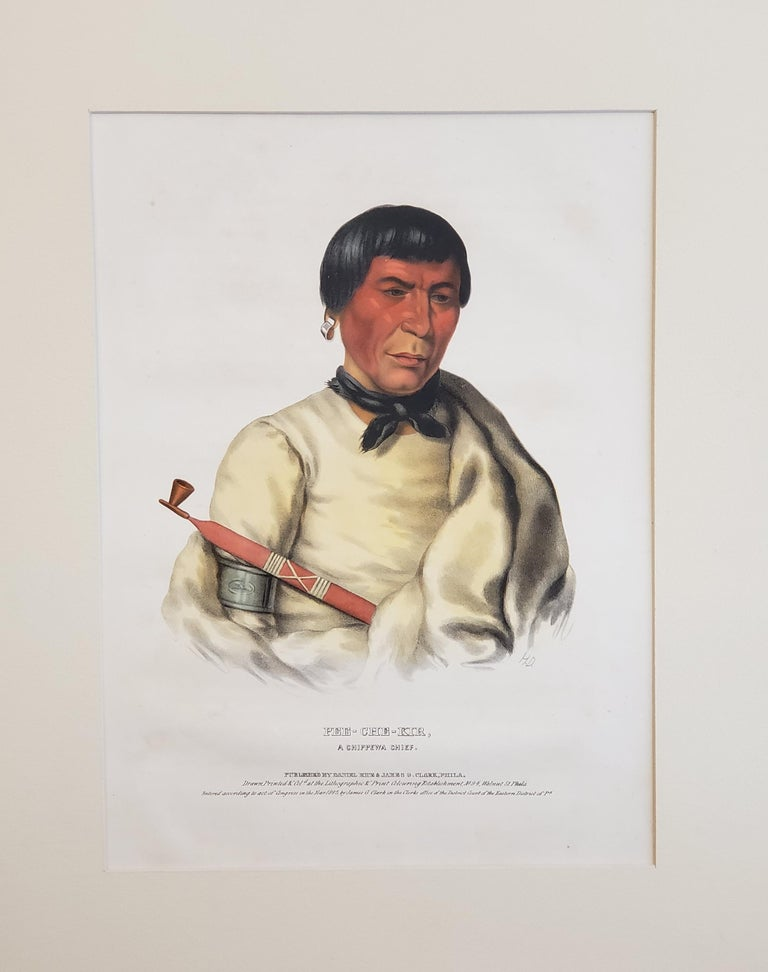 """Buffalo"" a Chippewa Chief Lithograph Portrait by McKenney & Hall.  The McKenney & Hall lithographs of Native Americans.  The McKenney & Hall prints of Native Americans, from their History of the Indian Tribes of North America (1837-1844), document"