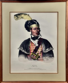 """Framed Hand-colored McKenney Folio-sized Lithograph """"McIntosh, A Creek Chief"""""""