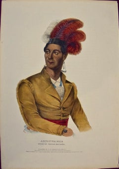 "Hand Colored McKenney Folio-sized Lithograph ""Ahyouwaighs, Chief of Six Nations"""