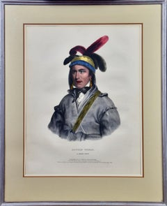 """Hand-colored McKenney Folio-sized Lithograph """"Opothe Yoholo, A Creek Chief"""""""