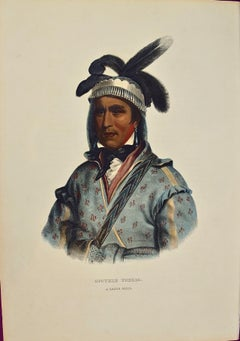 "Hand Colored McKenney & Hall Folio Lithograph ""Opothle Yoholo, Creek Chief"""