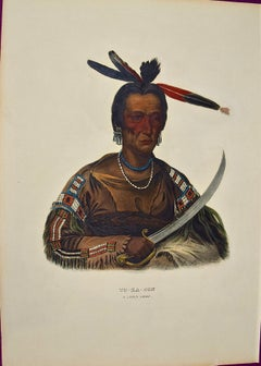 "Hand Colored McKenney & Hall Folio-sized Lithograph ""To-Ka-Con, A Sioux Chief"""