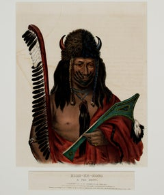 """Kish-Ke-Kosh-A Fox Brave (Sauk-Fox)"" Hand-colored Lithograph by McKenney & Hall"