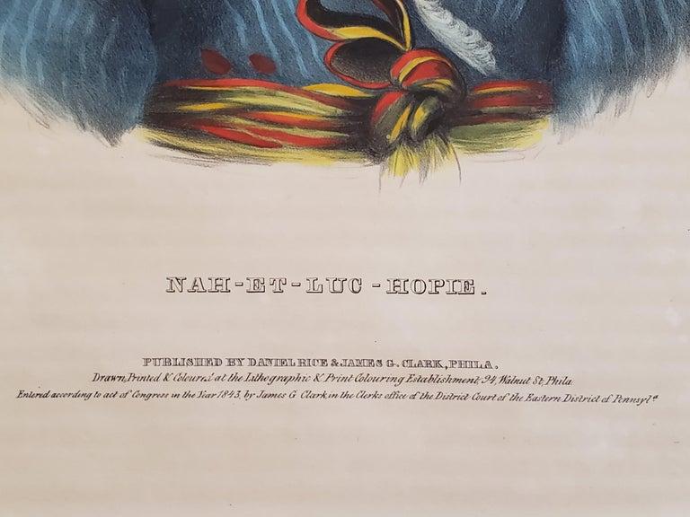 NAH-ET-LUC-HOPIE a Lithograph Portrait by McKenney & Hall For Sale 4