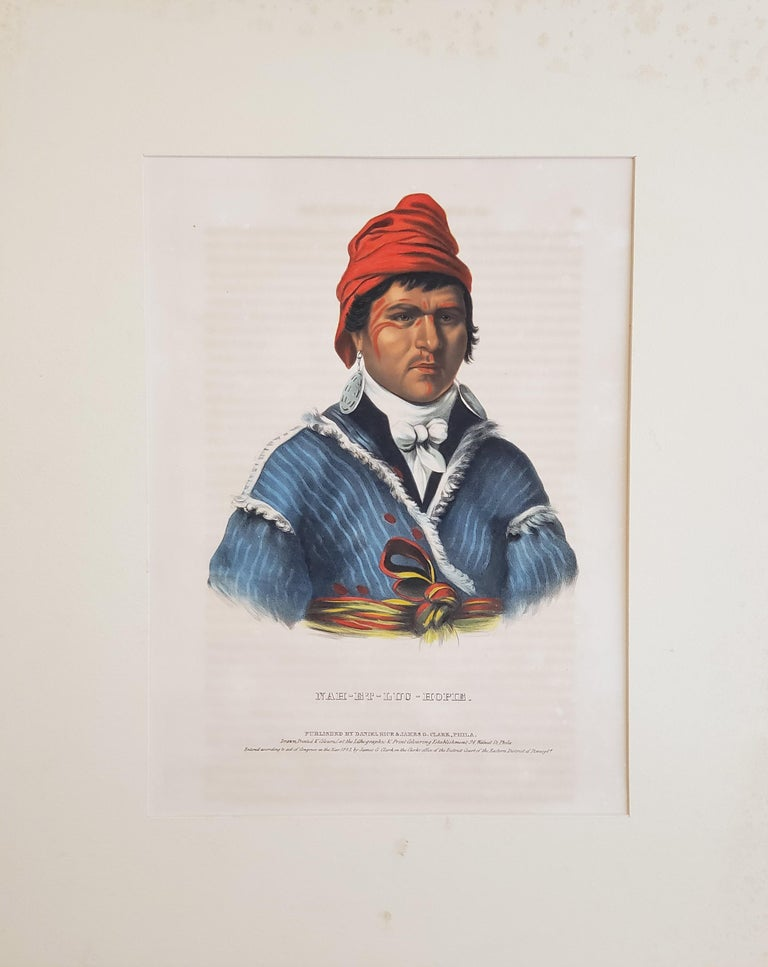 """""""NAH-ET-LUC-HOPIE"""" From McKenney & Hall's History of the Indian Tribes of North America. Philadelphia: Rice & Clark, 1843. Folio: image ca. 15 x 12. Lithograph. Original hand color. Very good condition.  The McKenney & Hall lithographs of Native"""