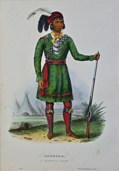 "Original Hand Colored McKenney & Hall Engraving ""Asseola, A Seminole Leader"""
