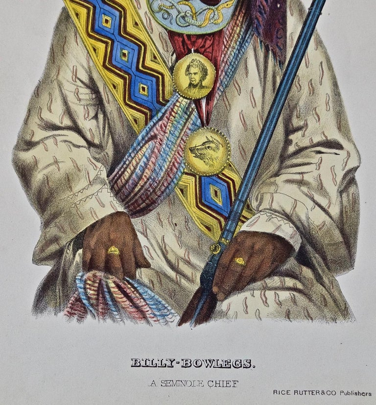 An original 19th century hand colored McKenney and Hall engraving of a Native American entitled
