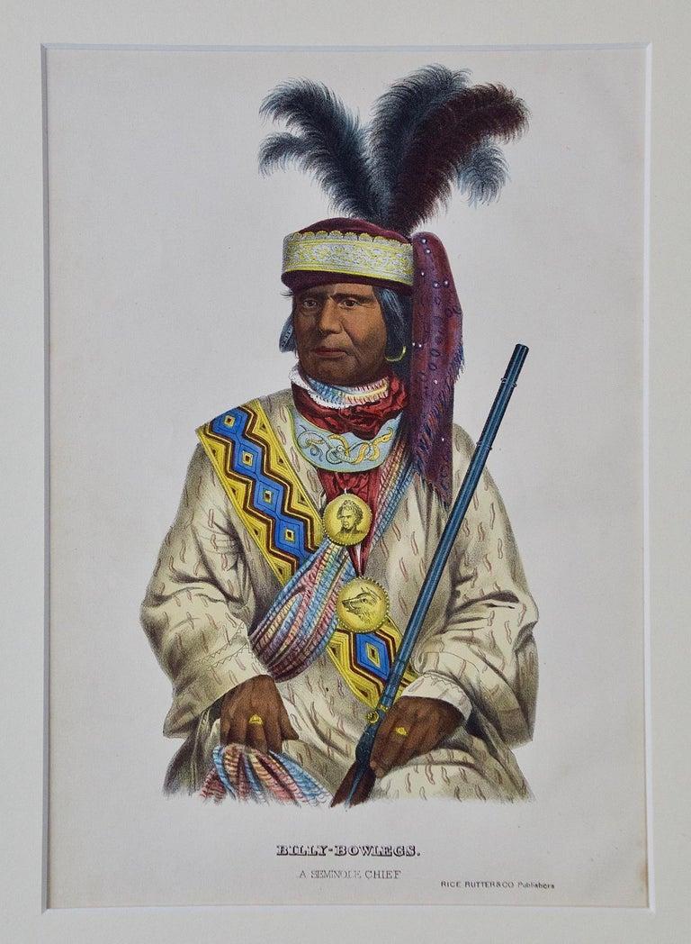 "Original Hand Colored McKenney & Hall Engraving ""Billy Bowlegs, Seminole Chief"" - Print by McKenney & Hall"