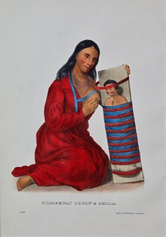 """Original Hand Colored McKenney & Hall Engraving """"Chippeway Squaw & Child"""""""