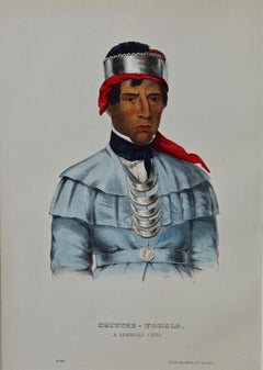 Original Hand Colored McKenney & Hall Lithograph Chittee-Yoholo, Seminole Chief
