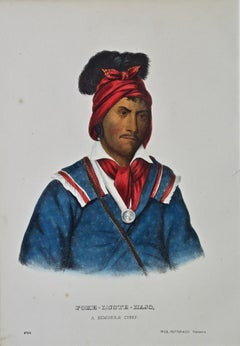 Original Hand Colored McKenney & Hall Engraving: Foke-Luste-Hajo, Seminole Chief