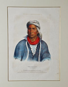 "Hand Colored McKenney & Hall Folio-sized Lithograph ""Kee-She-Waa, A Fox Warrior"""