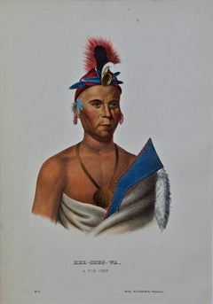 """Original Hand Colored McKenney & Hall Engraving """"Kee-Shes-Wa, A Fox Chief"""""""