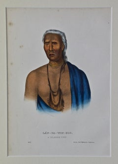 "Original Hand Colored McKenney & Hall Engraving ""Lap-Pa-Win-Soe, Delaware Chief"""