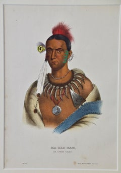 """Original Hand Colored McKenney & Hall Engraving """"Ma-Has-Kah, An Ioway Chief"""""""