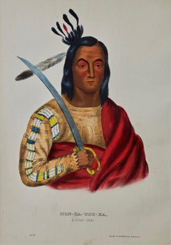 "Original Hand Colored McKenney & Hall Lithograph ""Mon-Ka-Ush-Ka, A Sioux Chief"""
