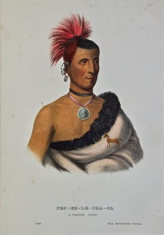 "Original Hand Colored McKenney & Hall Engraving ""Pes-Ke-Le-Cha-Co, Pawnee Chief"""
