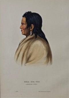 "Original Hand Colored McKenney & Hall Lithograph ""Sha-Ha-Ka, A Mandan Chief"""