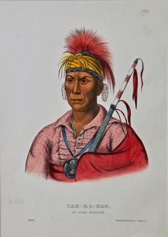 "Original Hand Colored McKenney & Hall Engraving ""Tah-Ro-Hon, An Ioway Warrior"""