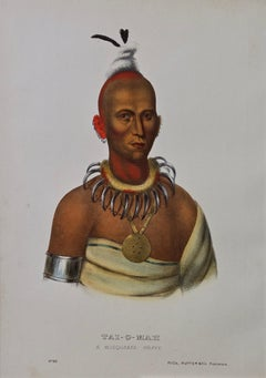 "Original Hand Colored McKenney & Hall Lithograph ""Tai-O-Mah, A Muswuakee Brave"""