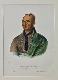"Original Hand Colored McKenney & Hall Engraving ""Thayendanegea, Great Captain"""