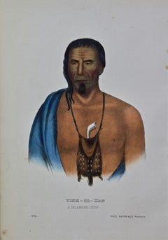 "Original Hand Colored McKenney & Hall Lithograph ""Tish-Co-Han, A Delaware Chief"""