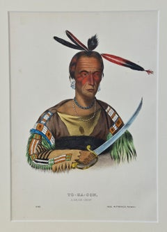 "Original Hand Colored McKenney & Hall Engraving ""To-Ka-Con, A Sioux Chief"""
