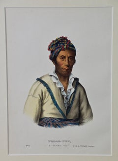 "Original Hand Colored McKenney & Hall Engraving ""Tooan-Tuh, A Cherokee Chief"""
