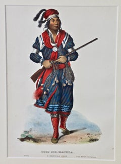 "Original Hand Colored McKenney & Hall Engraving ""Tuko-See-Mathla Seminole Chief"""