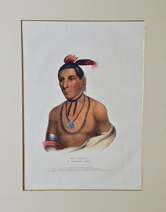 "Hand Colored McKenney & Hall Folio-sized Lithograph ""Wa-Kawn, A Winnebago Chief"""