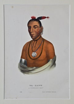 "Original Hand Colored McKenney & Hall Engraving ""Wa-Kawn, A Winnebago Chief"""