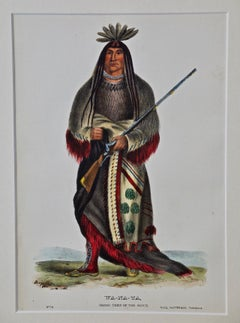 "Original Hand Colored McKenney & Hall Engraving ""Wa-Na-Ta, Chief of the Sioux"""