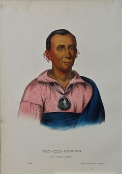 Original Hand Colored McKenney & Hall Lithograph Wat-Che-Mon-Ne, An Ioway Chief