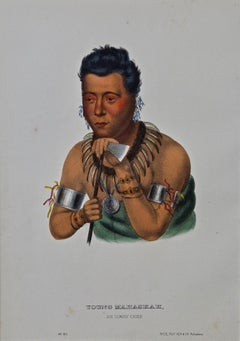 "Original Hand Colored McKenney & Hall Lithograph ""Young Mahaskah, Ioway Chief"""