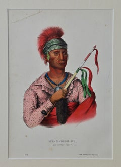 Original Hand Colored McKenney & Hall Lithograph of Ne-O-Mon-Ni, An Ioway Chief