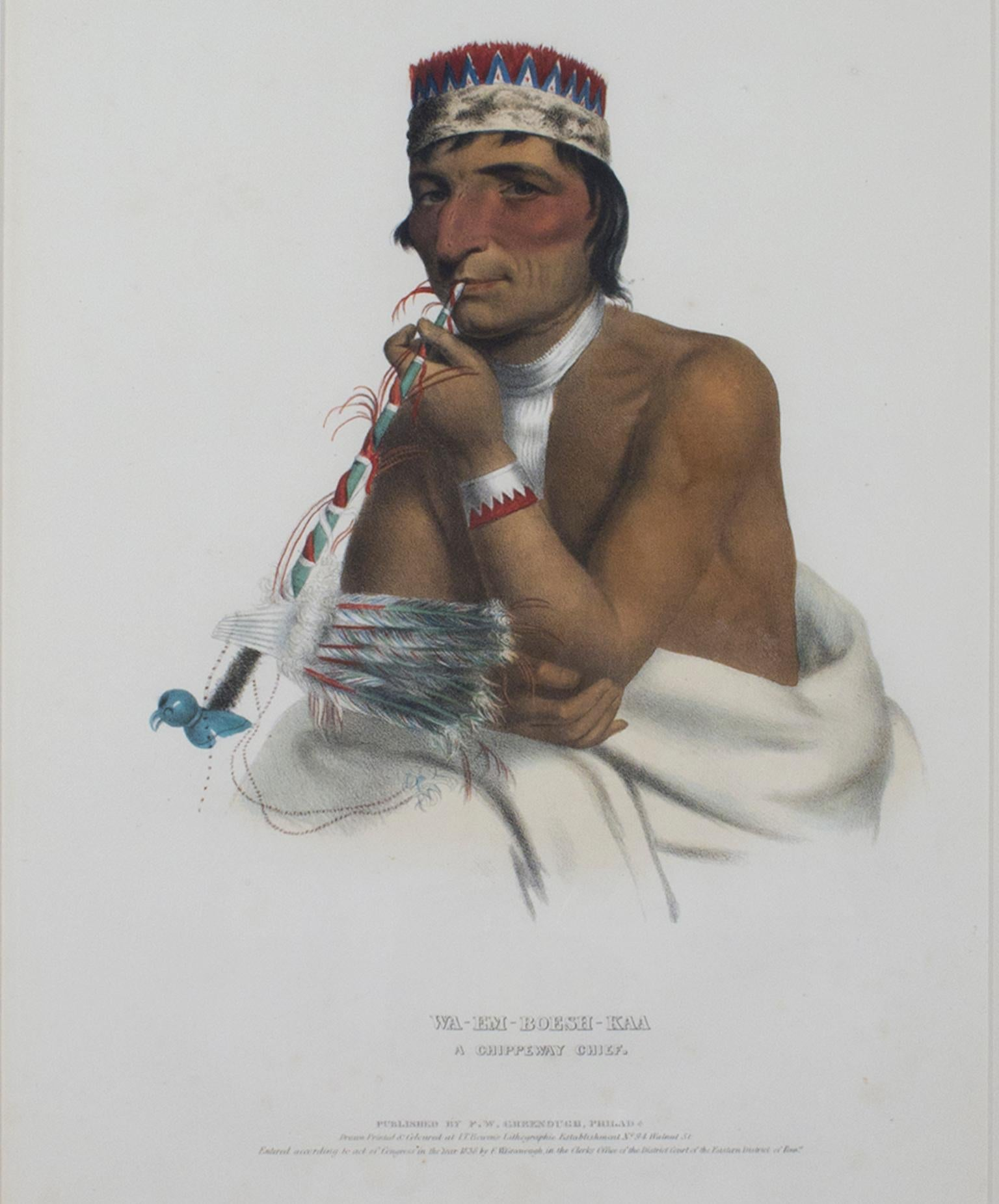 """""""Wa-Em-Boesh-Kaa, A Chippeway Chief,"""" Hand-colored Lithograph by McKenney & Hall"""