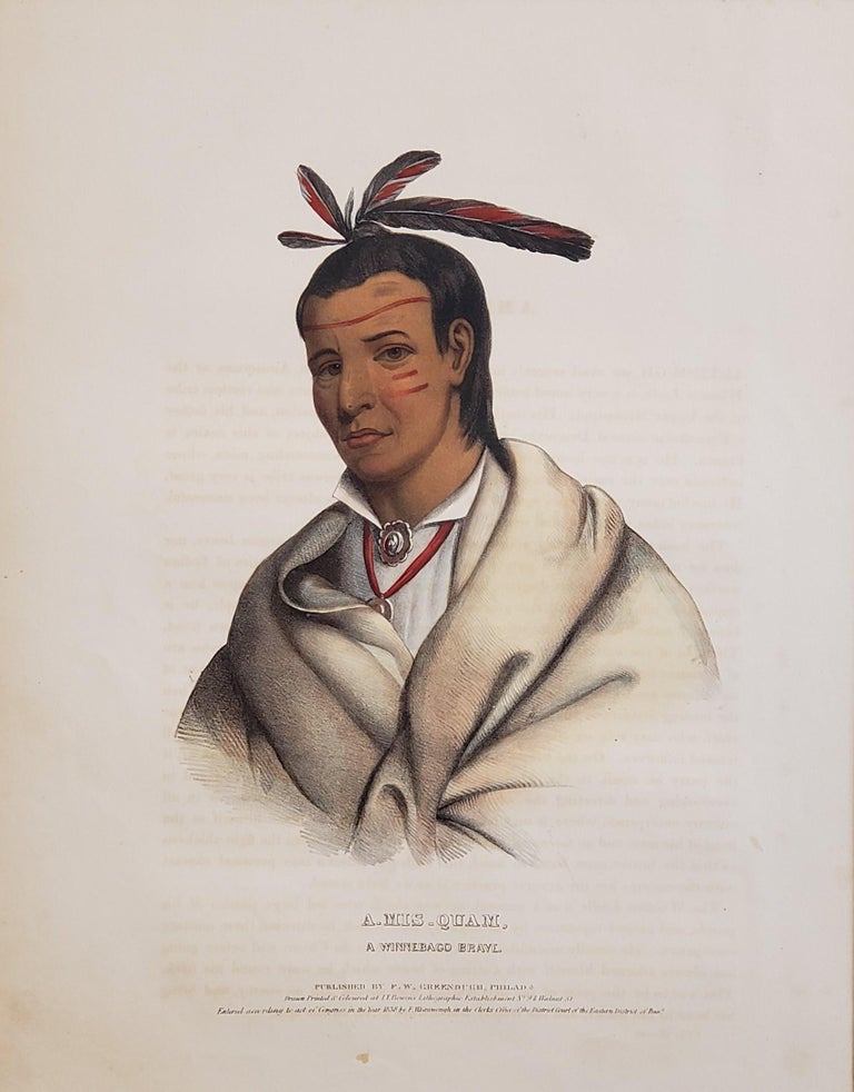 """Wooden Ladle"" A Winnebago Brave Lithograph Portrait by McKenney & Hall  ""A-mis-quam.  A Winnebago Brave.""  [Wooden Ladle.]  From McKenney & Hall's History of the Indian Tribes of North America. Philadelphia: F.W. Greenough, 1838. Folio: image ca."