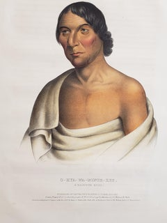 """Yellow Thunder"" Chippewa Chief Lithograph Portrait by McKenney & Hall"