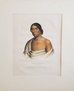 """""""Yellow Thunder"""" Chippewa Chief Lithograph Portrait by McKenney & Hall"""