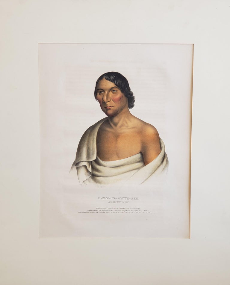 """""""O-hya-wa-mince-kee.  A Chippewa Chief.""""  [Yellow Thunder.]  From McKenney & Hall's History of the Indian Tribes of North America. Philadelphia: Rice & Clark, 1843. Folio: image ca. 15 x 12. Lithograph. Original hand color. Very good condition.  The"""