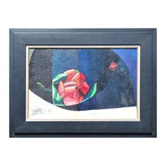 """""""Rose on Dark Table"""" Abstract Cubist Red and Blue Floral Still Life Painting"""