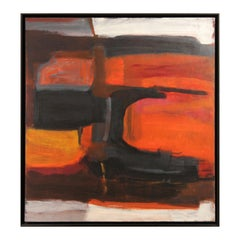 """""""Untitled 3"""" Modern Abstract Black and Orange Color Field Painting"""