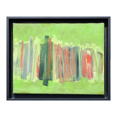 Untitled Abstract Colorful Green and Orange Striped Painting
