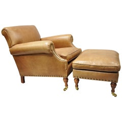 McKinley Leather English Regency Cigar Camel Leather Club Lounge Chair & Ottoman