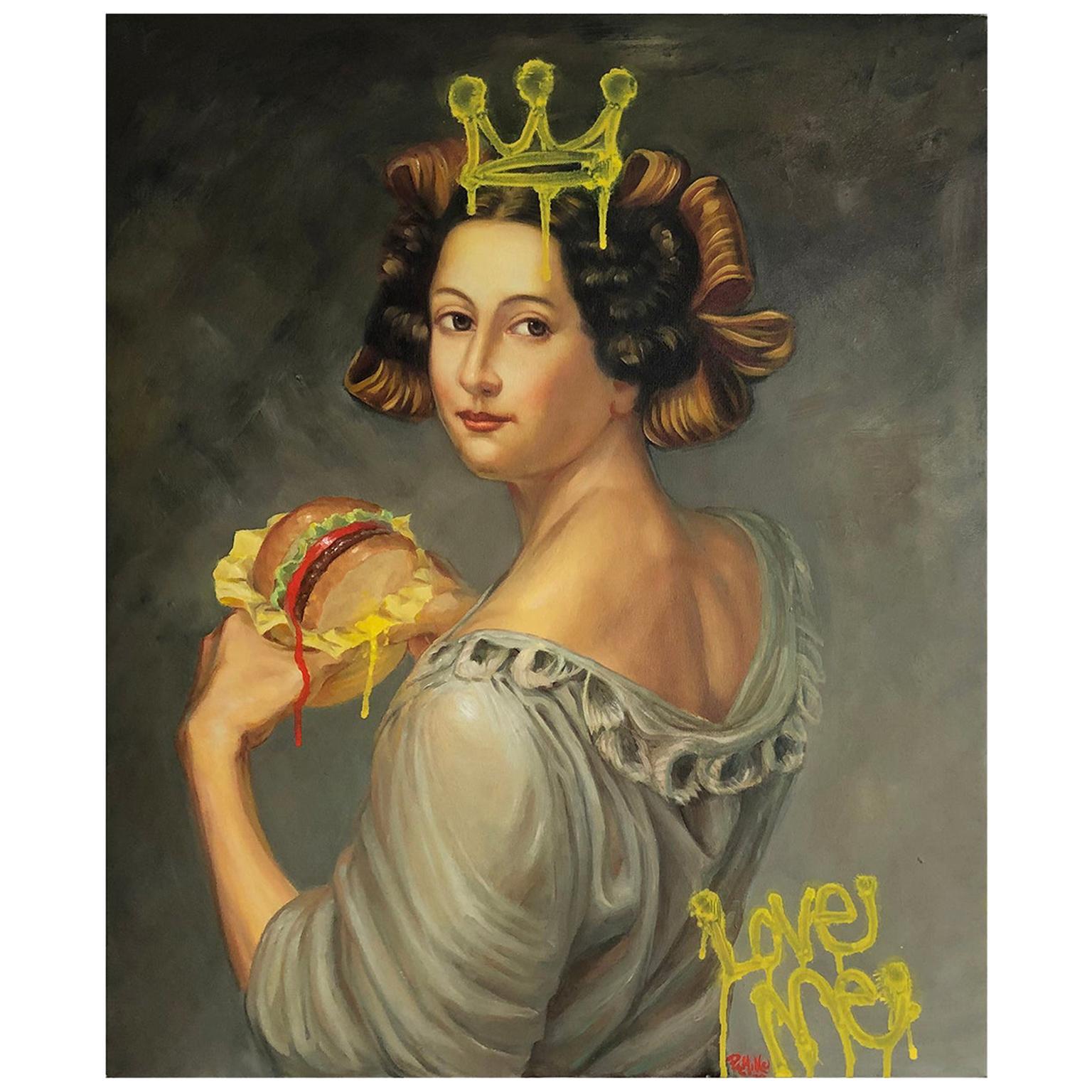 """McLady"" Oil on Canvas 'Vintage Oil Painting Intervention'"